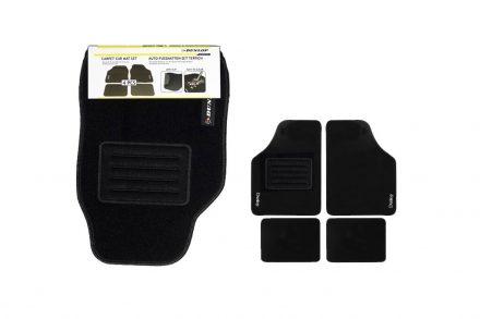 Dunlop Σετ Πατάκια Αυτοκινήτου 4 τεμ. Υφασμάτινα Μοκέτα Αντιολισθητικά σε Μαύρο χρώμα