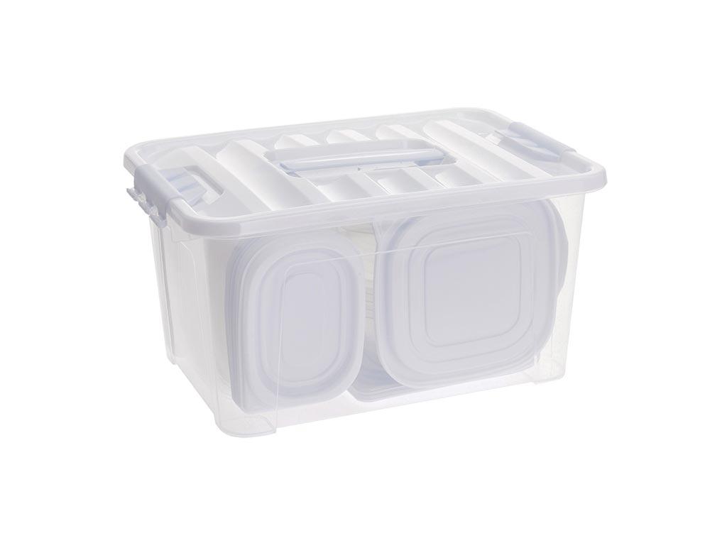 Σετ Τάπερ 44 τεμαχίων Δοχεία Φαγητού Φαγητοδοχεία σε διάφορα μεγέθη από πλαστικό κατάλληλο για φούρνο μικροκυμάτων έως 120°C