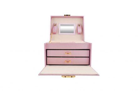 Κοσμηματοθήκη Μπιζουτιέρα σε Ροζ χρώμα με καθρεφτάκι