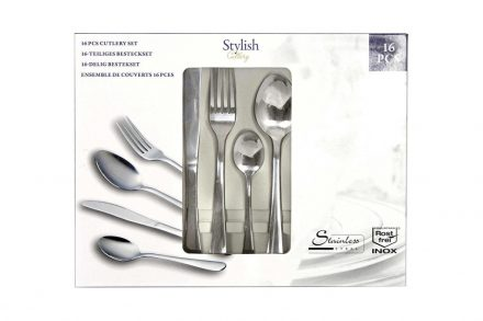 Stylish Cutlery Σετ Μαχαιροπίρουνα 16 τμχ. από Ανοξείδωτο Ατσάλι σε Κασετίνα Δώρου