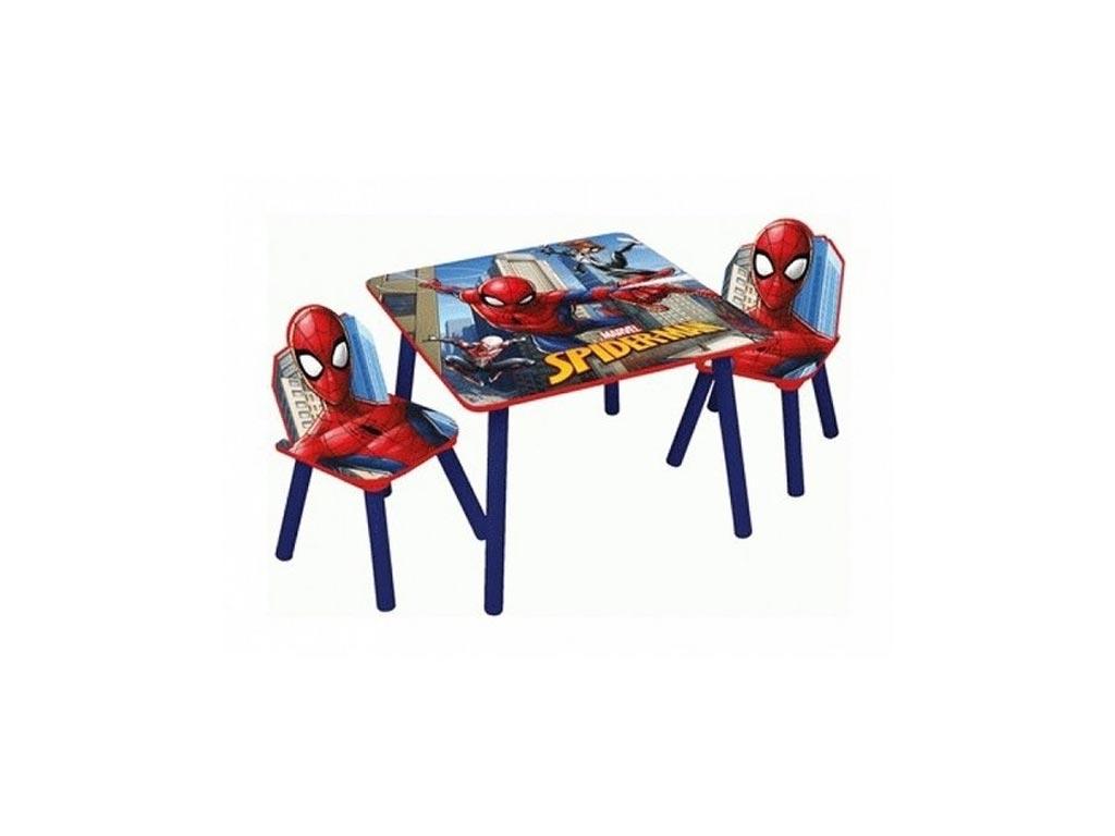 Spiderman Ξύλινο Σετ Τραπεζάκι με 2 Καρέκλες για παιδιά με θέμα Spiderman Διαμέτρου 50cm και ύψους 43cm - Marvel