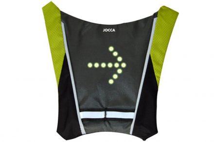 Jocca Γιλέκο Ασφαλείας Ποδηλάτου με Ενδεικτικές λυχνίες για αλλαγή πορείας χωρίς την ανάγκη για χειρονομίες σε Μαύρο-Λαχανί χρώμα με Χειριστήριο