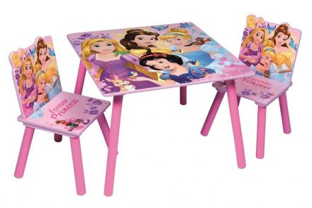Disney princess Ξύλινο Σετ Τραπεζάκι με 2 Καρέκλες για παιδιά με θέμα Πριγκίπισσες της Disney Διαμέτρου 60cm και ύψους 43cm - Disney