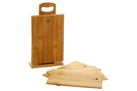 Bamboo Σετ με Βάσεις Κοπής Τυριού και Βάση στήριξης 22x14.5cm από Φυσικό Μπαμπού - Bamboo