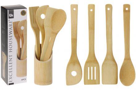 Μπαμπού Σετ Ξύλινα Εργαλεία Κουζίνας 5 τεμάχια με Βάση Αποθήκευσης