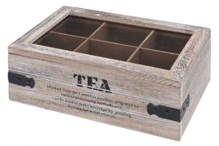 Vintage Ξύλινο Κουτί αποθήκευσης  Οργανωτής για φακελάκια τσαγιου 6 θέσεων