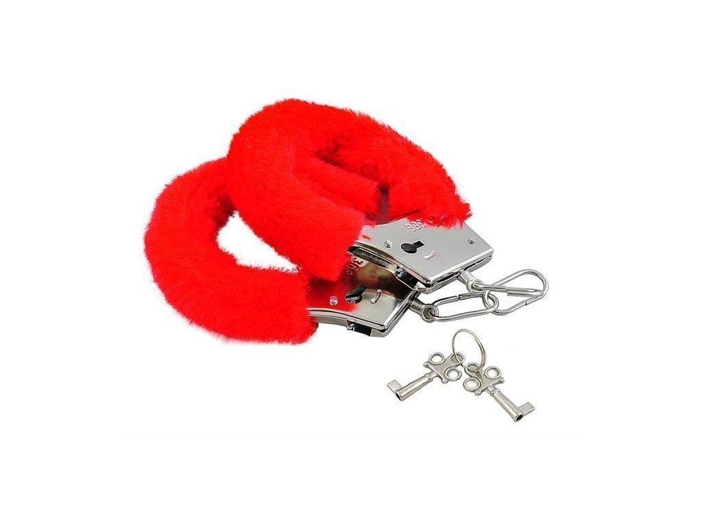 Sexy Χειροπέδες με Κόκκινη γούνινη επένδυση για ατελείωτα πονηρά παιχνίδια