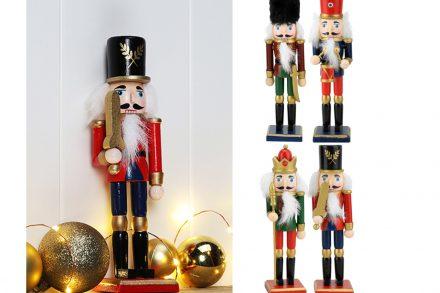 Χριστουγεννιάτικος Ξύλινος Καρυοθραύστης Στρατιώτης με βάση στήριξης ύψους 18cm
