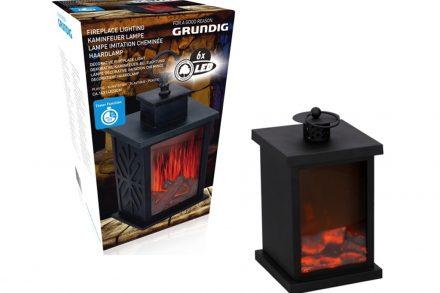 Διακοσμητικό Φαναράκι με προσομοίωση φωτιάς Εσωτερικού και Εξωτερικού χώρου με LED φωτισμό σε Μαύρο χρώμα