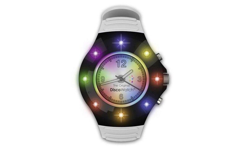 Original Φωτορυθμικό DiscoWatch Αναλογικό Ρολόι Χειρός με 8 πολύχρωμα LED που αναβοσβήνουν με την μουσική απαραίτητο σε κάθε λάτρη των πάρτι