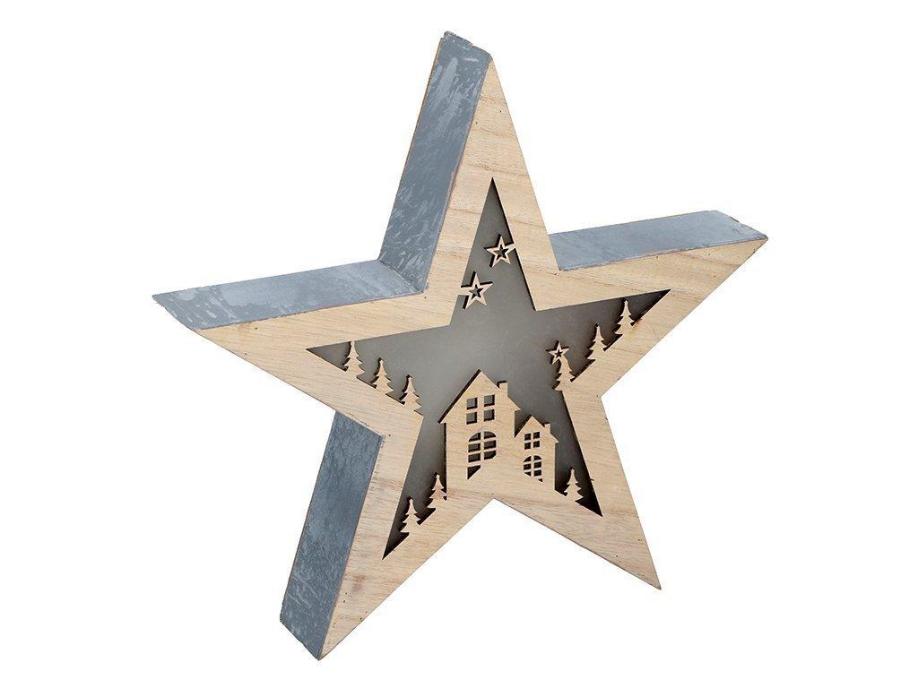 Christmas Gifts Χριστουγεννιάτικο Διακοσμητικό Ξύλινο Αστέρι 30x30x5cm με φωτισμό LED