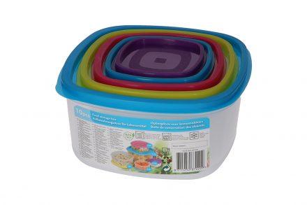 Σετ 10 τεμ. Πλαστικά Τάπερ-Φαγητοδοχεία με Καπάκια ασφαλείας