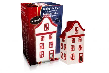 Christmas Gifts Κεραμικό Διακοσμητικό Χριστουγεννιάτικο Φαναράκι για Ρεσώ με Απεικόνιση Σπιτιού σε Λευκό Κόκκινο χρώμα