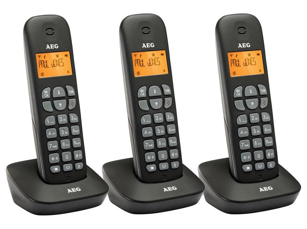 AEG Σετ Ασύρματο Τηλέφωνο 3 τεμαχίων με οθόνη LCD αυτόματο τηλεφωνητή και εύρος  300 μέτρα