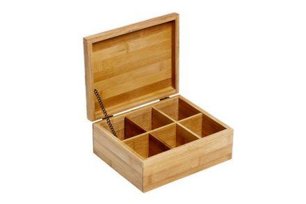 Bamboo Πρακτικό Ξύλινο  Κουτί αποθήκευσης για φακελάκια τσαγιού Tea box με 6 θέσεις και καπάκι 21.8x18x9cm από Μπαμπού - Bamboo
