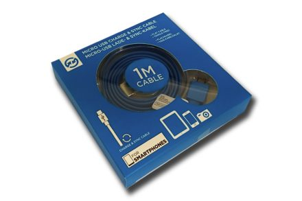 Compu Parts 94754 Επίπεδο Καλώδιο USB 2.0 σε Micro USB 1m που δεν μπερδεύεται για φόρτιση και συγχρονισμό σε χρώμα Μπλε - Compu Parts