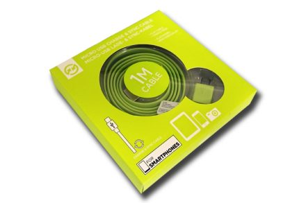 Compu Parts 94754 Επίπεδο Καλώδιο USB 2.0 σε Micro USB 1m που δεν μπερδεύεται για φόρτιση και συγχρονισμό σε χρώμα Λάιμ - Compu Parts