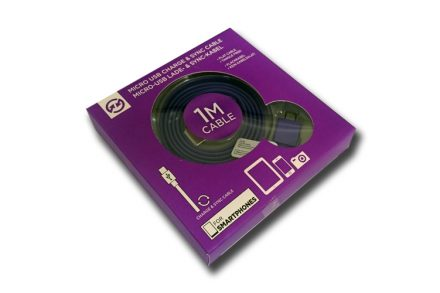 Compu Parts 94754 Επίπεδο Καλώδιο USB 2.0 σε Micro USB 1m που δεν μπερδεύεται για φόρτιση και συγχρονισμό σε χρώμα Μωβ - Compu Parts
