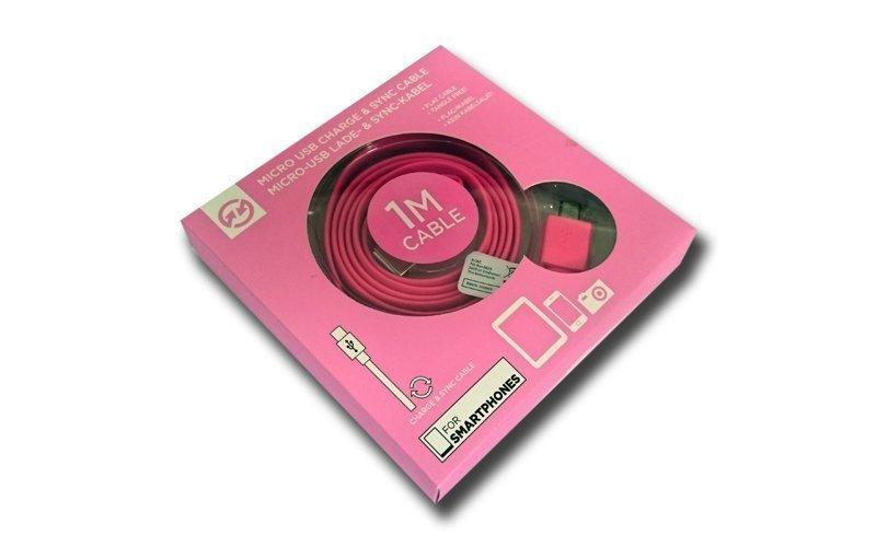Compu Parts 94754 Επίπεδο Καλώδιο USB 2.0 σε Micro USB 1m που δεν μπερδεύεται για φόρτιση και συγχρονισμό σε χρώμα Ροζ - Compu Parts