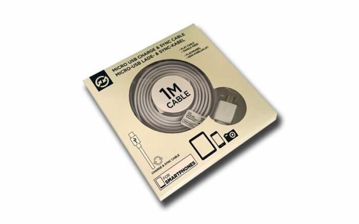 Compu Parts 94754 Επίπεδο Καλώδιο USB 2.0 σε Micro USB 1m που δεν μπερδεύεται για φόρτιση και συγχρονισμό σε χρώμα Λευκό - Compu Parts