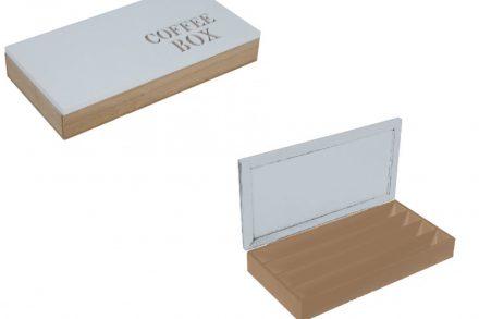 Ξύλινο Κουτί Αποθηκευσης για Κάψουλες Καφέ Espresso 34.5x18x5.5cm με Λευκό καπάκι 4 σειρές υποδοχών και Καφέ γράμματα