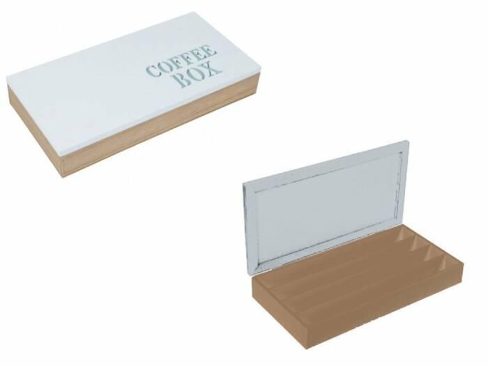 Ξύλινο Κουτί Αποθηκευσης για Κάψουλες Καφέ Espresso 34.5x18x5.5cm με Λευκό καπάκι 4 σειρές υποδοχών και Λευκά γράμματα