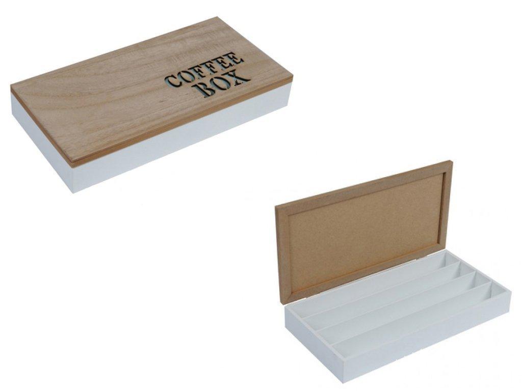 Ξύλινο Κουτί Αποθηκευσης για Κάψουλες Καφέ Espresso 34.5x18x5.5cm με Καφέ καπάκι 4 σειρές υποδοχών και Λευκά γράμματα