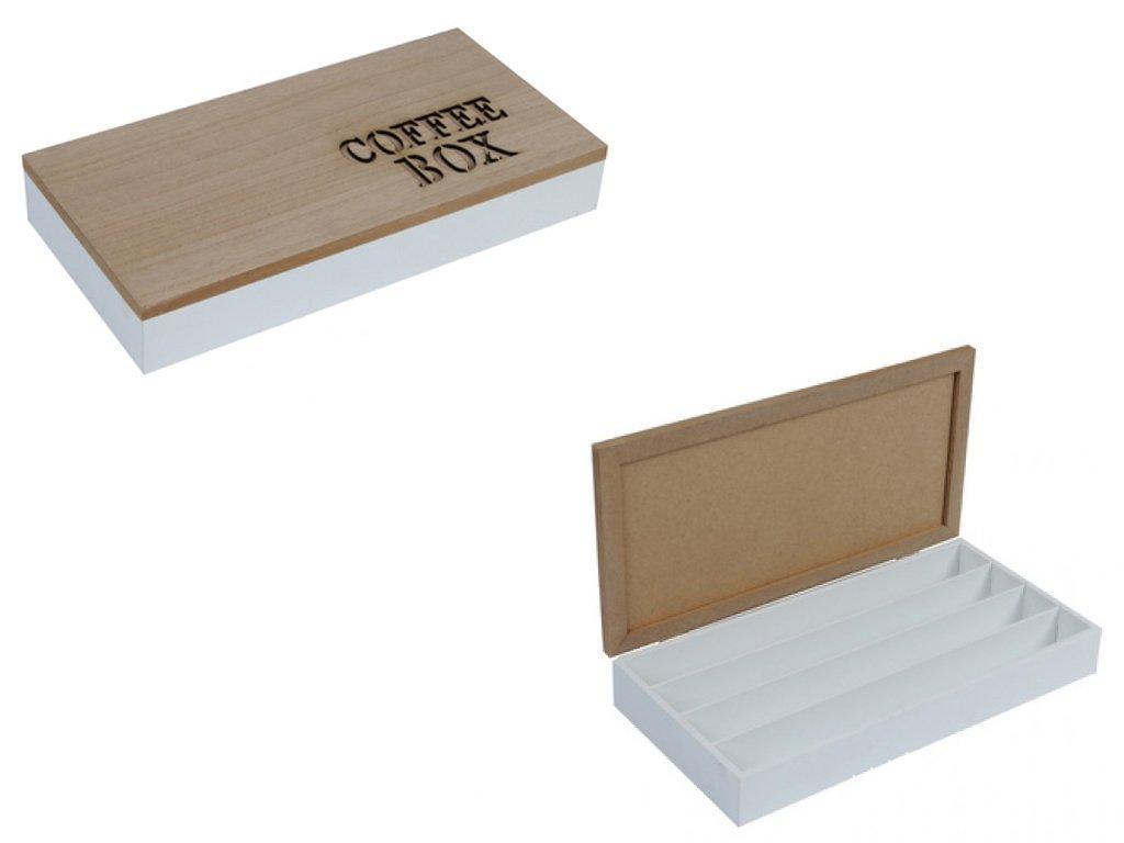 Ξύλινο Κουτί Αποθηκευσης για Κάψουλες Καφέ Espresso 34.5x18x5.5cm με Καφέ Καπάκι 4 σειρές υποδοχών και Καφέ γράμματα