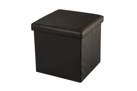 Σκαμπό Πτυσσόμενο με Αποθηκευτικό Χώρο σε Καφέ χρώμα από υψηλής ποιότητας eco Δέρμα