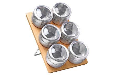 Luigi Ferrero Σετ με 6 μαγνητικά βαζάκια μπαχαρικών με καπάκια απο ανοξείδωτο ατσάλι και ξύλινη βάση μπαμπού