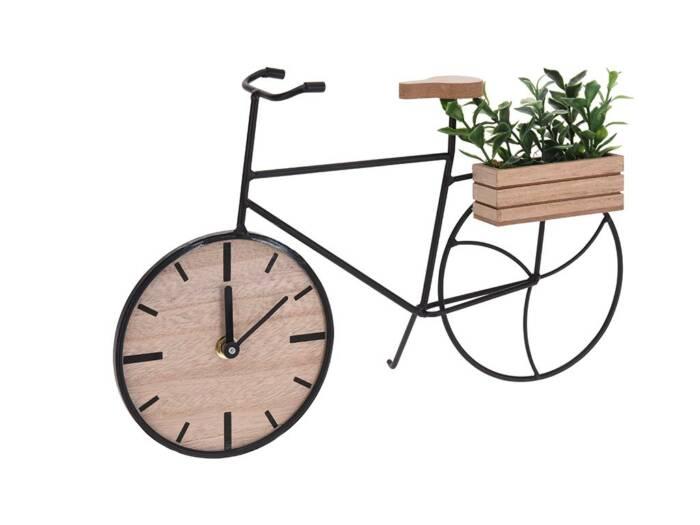 Διακοσμητικό Ρολόι σε σχέδιο Ποδηλάτου με Μεταλλική βάση και λεπτομέρειες από ξύλο