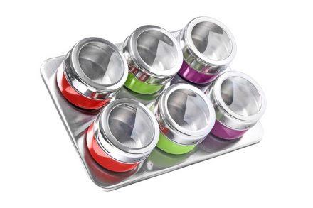 Luigi Ferrero Ανοξείδωτο σετ 6 τεμαχίων με πολύχρωμα μαγνητικά βαζάκια για μπαχαρικά και μαγνητική βάση