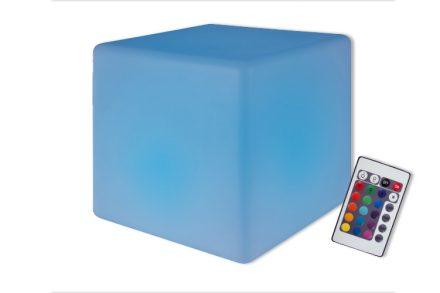 Μοντέρνο Επαναφορτιζόμενο Σκαμπό σε σχήμα κύβου με φωτισμό LED και εναλλαγή χρωματισμών για χαλαρωτικές στιγμές 30x30x30cm - Clip Sonic