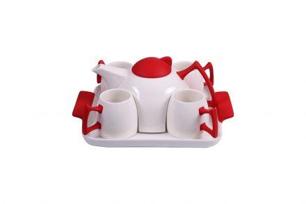 Σετ Τσαγιέρα Καφετιέρα Σερβιρίσματος με 4 φλυτζάνια κούπες και δίσκος σερβιρίσματος από Πορσελάνη σε Λευκό και Κόκκινο χρώμα