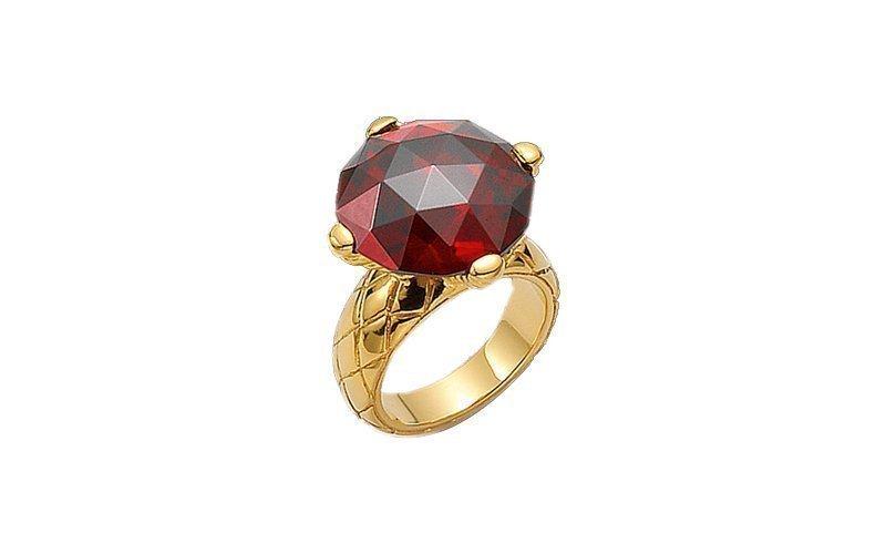 Γυναικείο Κόσμημα Δαχτυλίδι από ανοξείδωτο ατσάλι σε Χρυσό Χρώμα με Κόκκινο Κρύσταλλο και Χρυσή λεπτομέρεια της σειράς BOULE