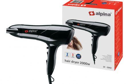 Alpina switzerland Πιστολάκι Μαλλιών 2000W με 3 Επίπεδα Θερμοκρασίας και 2 Ταχύτητες σε μαύρο χρώμα