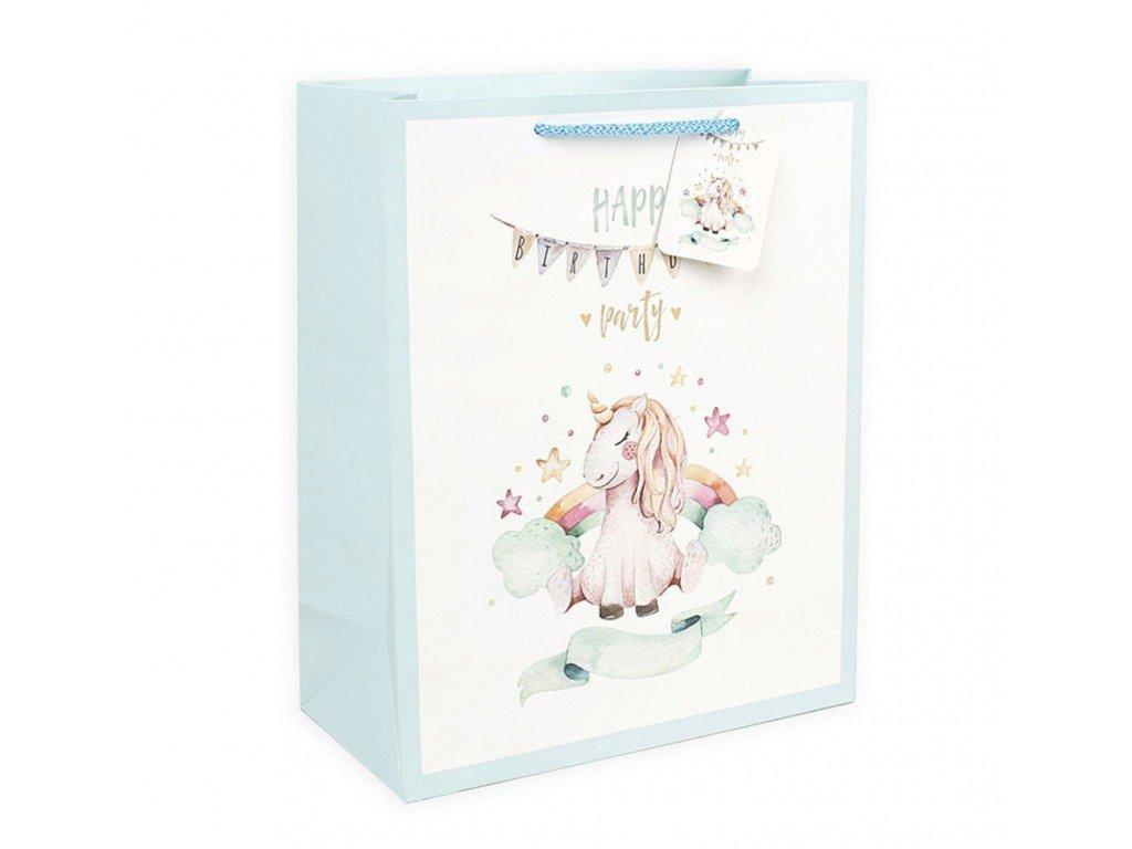 Μονόκερος Τσάντα Δώρου Unicorn με ενσωματωμένη κάρτα ευχών Happy Birthday