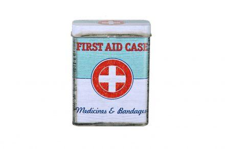 Vintage Μεταλλικό Κουτί 9.5x7cm First Aid για Αποθήκευση φαρμάκων ή ειδών πρώτων βοηθειών
