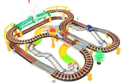 Σετ 2 σε 1 Παιχνίδι Συναρμολογούμενος Σιδηρόδρομος με Τρένο και Αυτοκινητόδρομο με Αξεσουάρ - Cb