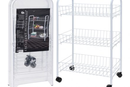 Excellent Houseware Μεταλλικός Οργανωτής Τρόλεϊ Κουζίνας και Μπάνιου 61.5x50.5x27cm με 3 Καλάθια και Ρόδες σε Λευκό χρώμα
