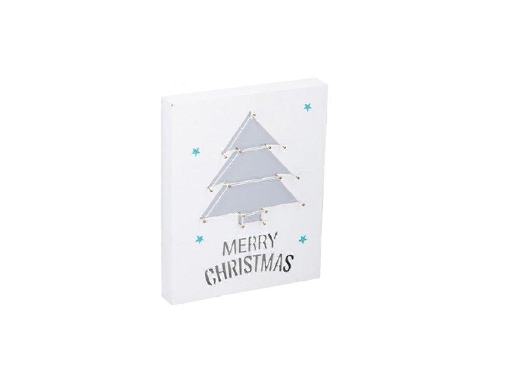 Πίνακας LED Ξύλινος Διακοσμητικός Χριστουγεννιάτικος με Χριστουγεννιάτικο δέντρο