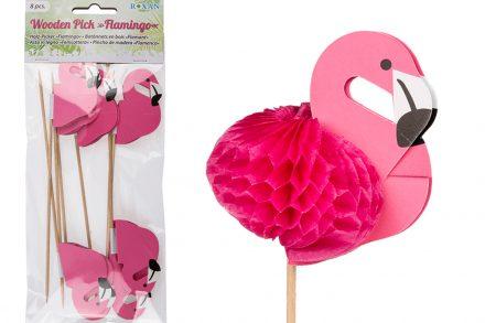 Flamingo Φλαμίνγκο Σετ Διακοσμητικά για Μπόμπες και Φαγητά Πάρτυ 18cm 8 τεμ. από Χαρτί σε Ξυλάκι