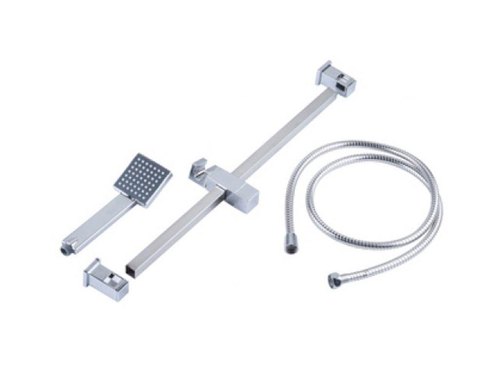 Bath & Shower Τηλέφωνο ντουζ με Τετράγωνη Κεφαλή 7.5x7.5cm και Βάση Στήριξης 61cm από Ανοξείδωτο ατσάλι