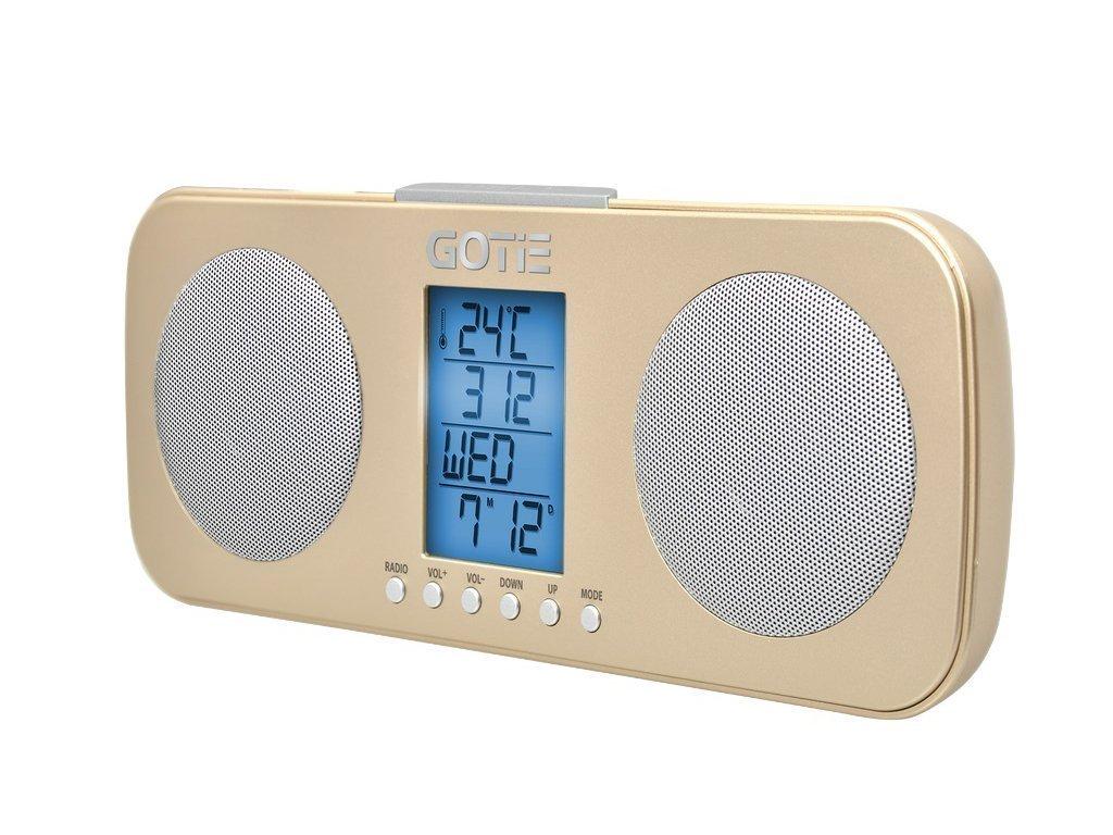 GOTIE Ραδιο-ξυπνητήρι με Οθόνη LED 2 Ηχεία Θερμόμετρο και Τηλεσκοπική Κεραία σε Χρυσό χρώμα