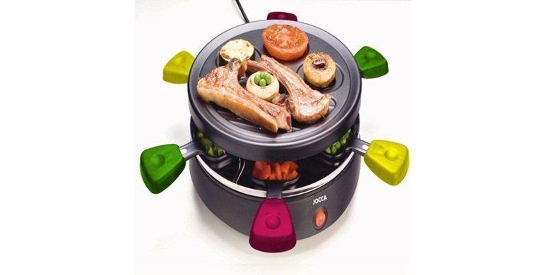Raclette Γκριλιερα 800W με Αντικολλητική πλάκα γκριλ & 6 αντικολλητικά μικρά τηγάνια