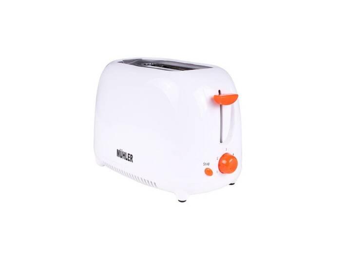 Muhler Φρυγανιέρα 750W με 2 θέσεις ψησίματος σε Λευκό χρώμα και Πορτοκαλί λεπτομέρειες