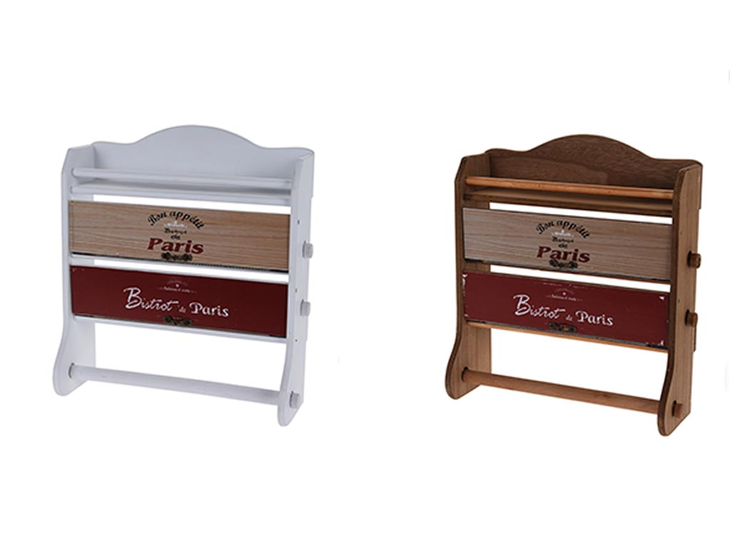 Κρεμαστό Ράφι Κουζίνας Ξύλινο με 3 θέσεις τοποθέτησης για Ρολό Χαρτί Κουζίνας