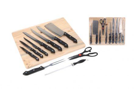 Σετ Μαχαίρια Κουζίνας 11 τεμαχίων με ξύλινη επιφάνεια κοπής