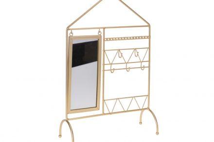 Κοσμηματοθήκη Μπιζουτιέρα Κρεμάστρα με καθρεπτάκι σε χρυσό χρωμα - Cb