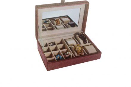 Κοσμηματοθήκη Μπιζουτιέρα και Θήκη Ρολογιών με  βελουτέ επένδυση σε χρώμα Σάπιο Μήλο